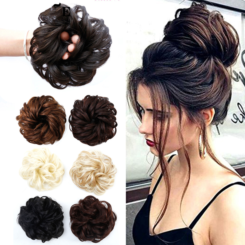 BUQI Curly Scrunchie Chignon Rubber Band Blonde Synthetic Hair Ring Wrap For Hair Bun Ponytails Heat Resistant Hair Accessories