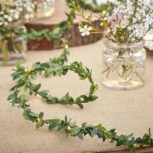 2m 20led folha verde guirlanda de fadas led luzes da corda folha artificial videira para o natal casa decorações festa aniversário casamento