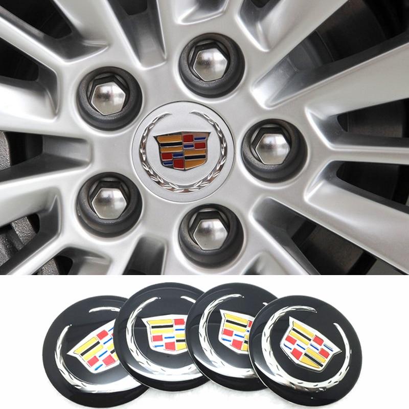4pcs Car Logo Badge For Cadillac ATS CTS DTS STS SLS SLR XLR BLS Seville Escalade Deville Tiburon CT6 56mm Wheel Center Sticker