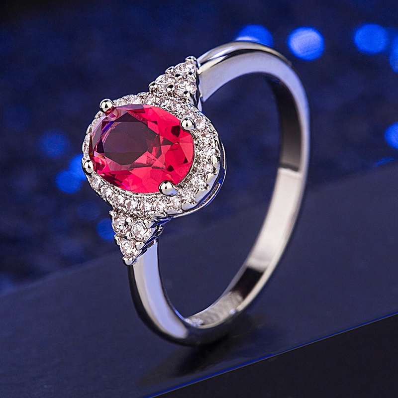 Classic Charm 925 Sterling Silver Rings For Women Ruby Gemstone Ring Female Wedding Engagement  Silver 925 Jewelry Wholesale