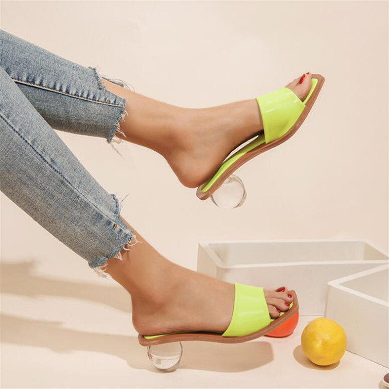 PU High Heel Slippers Summer Fashion Square Head Slip On Square Head Slides Women Shallow Mules Dress Pumps Size 42 43