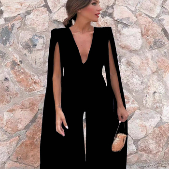 Tosheiny 2020 New Summer Sexy Deep V Bodysuits Elegant Rompers Chiffon Long Sleeve Backless Bodycon Jumpsuit TH18846