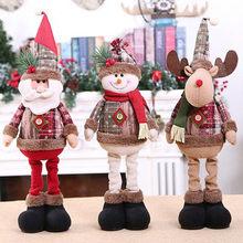 Poupées de noël debout, décoration d'arbre, nouvel an, bonhomme de neige, renne, père noël, décoration de joyeux noël, 1/3 pièces