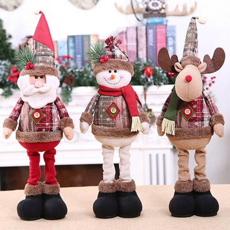 1/3PCS Christmas Dolls Xmas Tree Decor New Year Ornament Reindeer Snowman Santa Claus Standing Doll Decoration Merry Christmas