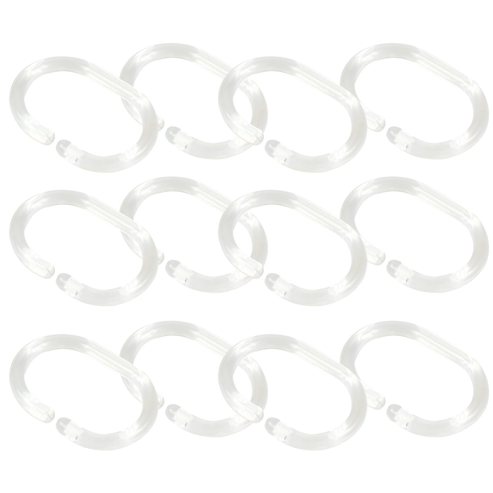 12pcs Hook C Shape Replacement Shower Curtain Distorted Bathroom Ring 360 Degree Transparent
