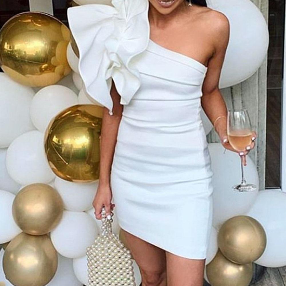 Sexy One Shoulder Cocktail Party Dresses Ruffles Women White Bodycon Mini Dress Summer 2020 Robe Plain Femme Elegant Vestiods