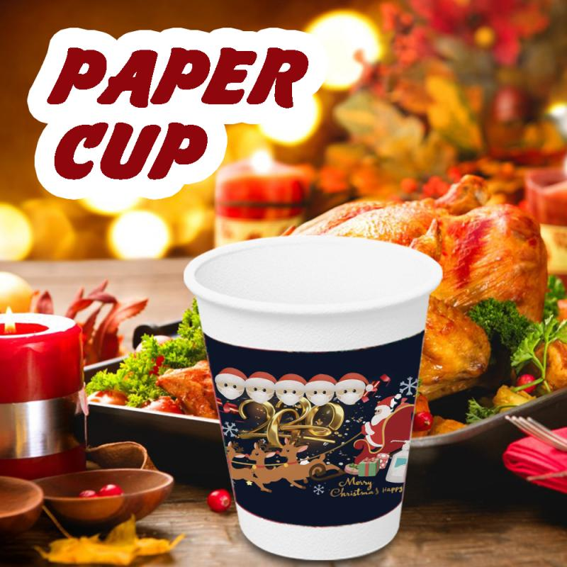 Beautiful Disposable Paper Cups For Christmas Holiday Celebration 10 Paper Cups Containing Cute Cartoon Santa Claus In Black And Red Online Discount