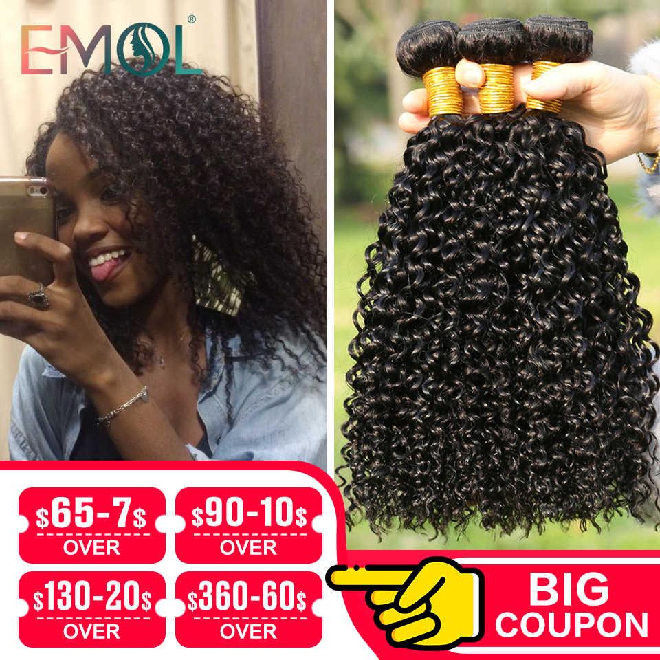 Emol perulu Kinky kıvırcık saç demetleri perulu saç örgü demeti 8-28 uzun saç postişi paket olmayan Remy uzantıları