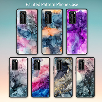 Ink Brush Quicksand Painting case for Huawei P20 P30 P40 Lite Pro luxury cover Anti-fall protective shell for huawei nova 5t image