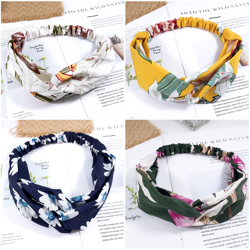 New Print Chiffon Wide Hair Band Sweet Style Floral Women Cross Twisted Turban Hair Accessories Girl Accessories Headbands