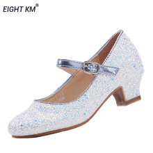 EIGHT KM Kids Shoes for Girls Mary Jane Low-Heeled Dress Formal Party Princess Shoe for Girl Fashion Adjustable Loop Footwear