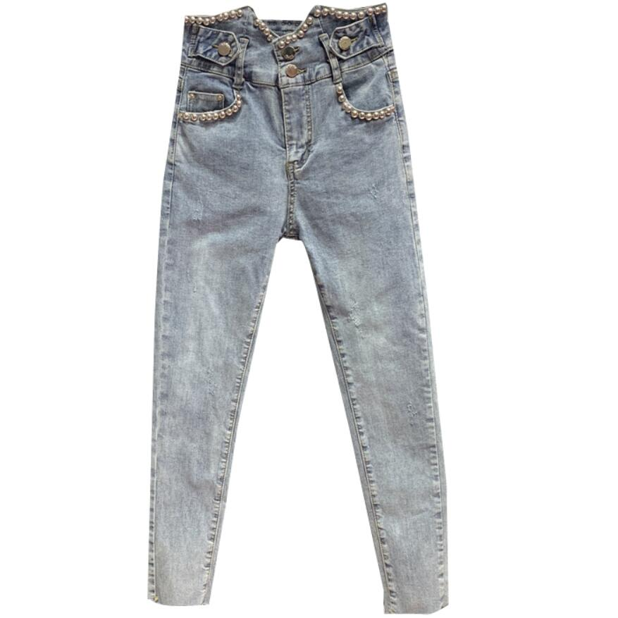 2020 Summer New Fashion New High-waist Beaded Cropped Jeans Women Skinny Pencil Jeans