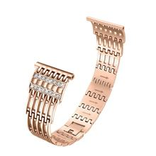 Stainless Steel Strap For Fitbit Versa Bracelet Wrist Band Smart Accessories Elegant Watch Band Replacement With Rhinestone(China)