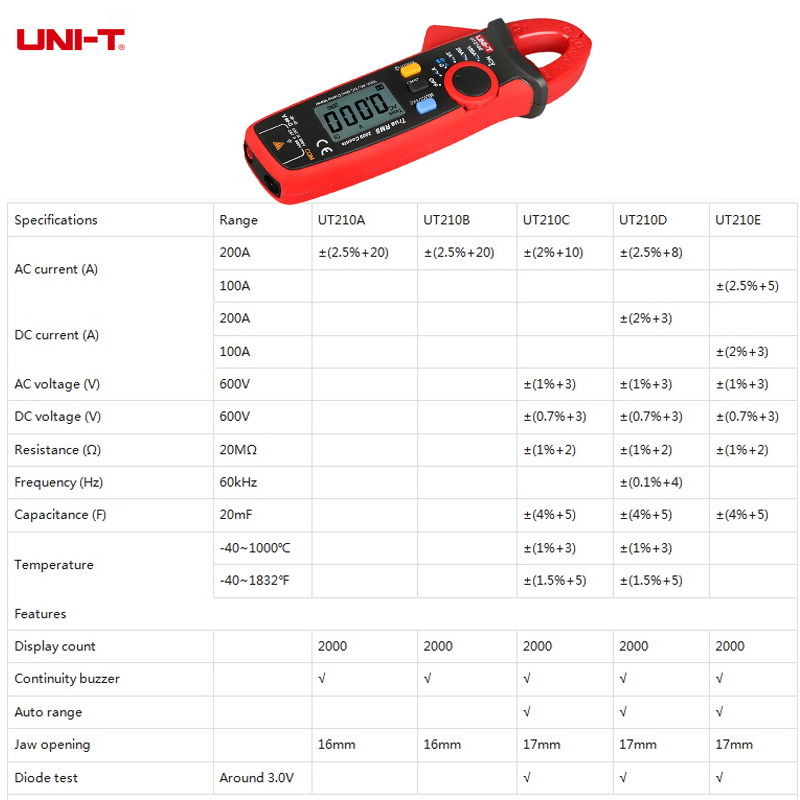 Tools : UNI-T UT210D UT210E Pro Digital Mini Clamp Meter AC DC Current True RMS Capacitance Tester Auto Range VFC Multi-Tester