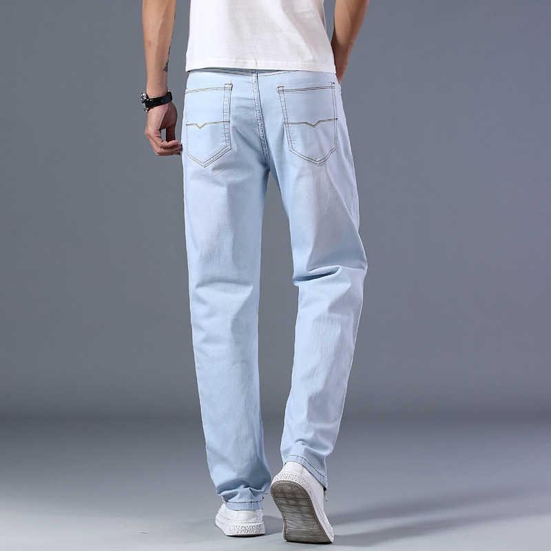 Plus Größe 40 42 44 männer Licht Blau Dünne Jeans 2020 Frühjahr und Sommer Neue Lose Gerade Erweiterte Stretch denim Hosen Männlichen Marke