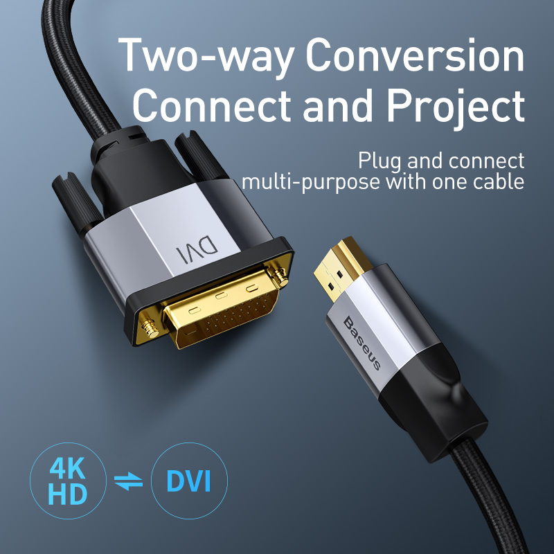 Baseus DVI к HDMI кабель двухсторонний штекер 4K HDMI к DVI D адаптер конвертер DVI-D видео кабель для PS4 PC HD tv проектор