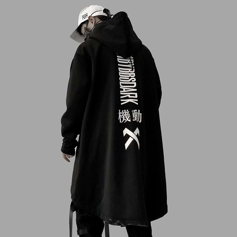 Male Jacket Oversize Long Hoodie Cotton Fashion Coats