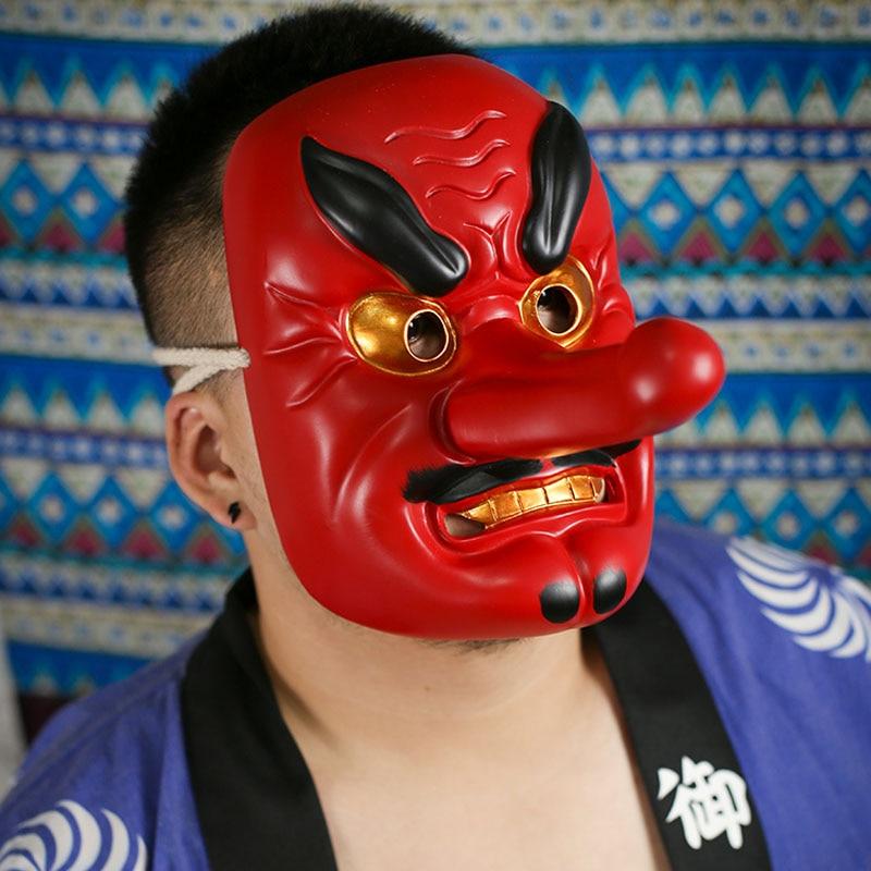 יפני הקאבוקי מסכת שרף בפראנה בודהיזם Noh Tengu מסכת קוספליי תחפושות ליל כל הקדושים תחפושות אנימה שד שטן מסכות