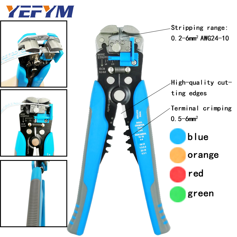 3 In 1 Multi Tool Automatic Adjustable Crimping Tool Cable Wire Stripper Cutter Peeling Pliers Blue Repair Diagnostic-tool