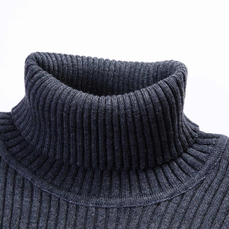 YUSHU Men's Autumn Wool-blend Sweater Long Sleeve Turtleneck Knitted Pullovers Men Brand Clothing Size M-3XL