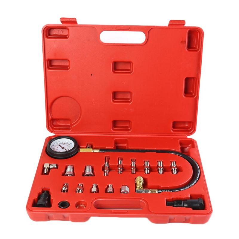 Car Diesel Engine Cylinder Compression Tester Kit With Pressure Gauge And Adapters Blow-moulded Portable Case Package Storage