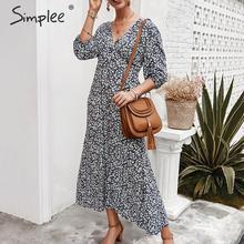 Simplee seksi v yaka çiçek baskı kadın elbise zarif boho tatil yaz bahar sundress Vintage stil kadın midi elbiseler vestid