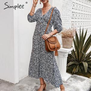Image 1 - Simplee sexy decote em v floral imprimir mulheres vestido, elegante, feriado, verão, estilo vintage, mulheres, midi vestidos