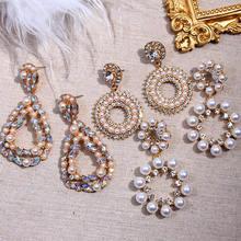 Flatfoosie-boucles d'oreilles en or, imitation de perles, pendentif, forme géométrique ronde en cristal, bijoux de mariage romantiques, collection 2020