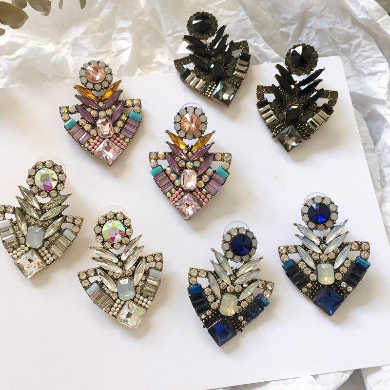 Ztech Pink/Blue/White Rhinestone Fashion Stud Earring Women Trendy Jewelry Good Quality Metal With Gems Stud for Women Grils