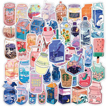50PCS Summer Cute Flavored Drink Stickers PVC Kawaii Cartoon Beverage Decal sticker For Girl DIY Laptop Stationery Water Bottle
