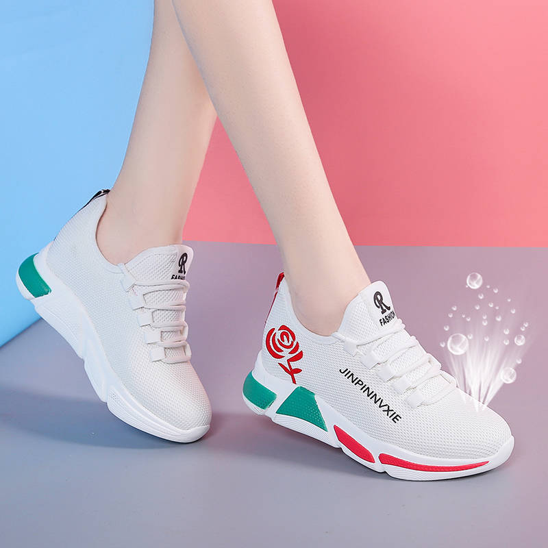 New Stylish Woman Running Sneakers Increasing High Heel Sneakers Women Height Platform Breathable Sports Walking Girls