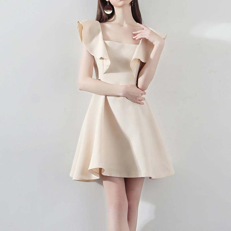 2020 Elegant Women Mini Party Dress Sexy Petal Sleeve Slim Women Sexy Party Dress Beige Women Dress Vestidos