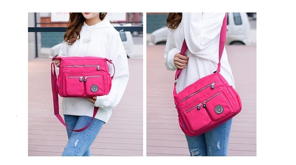 H90352d1f2fe14b4eb1c84d95307f2eaf1 - Ladies Fashion Shoulder Bags for Women  Waterproof Nylon Handbag Zipper Purses Messenger Crossbody Bag sac a main