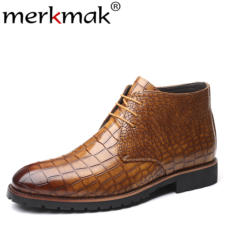 Merkmak Pointed Toe Men Shoe Fashion Lace-up Autumn Ankle Booties Classic Crocodile Pattern Warm Leather Boots New Big Size Shoe