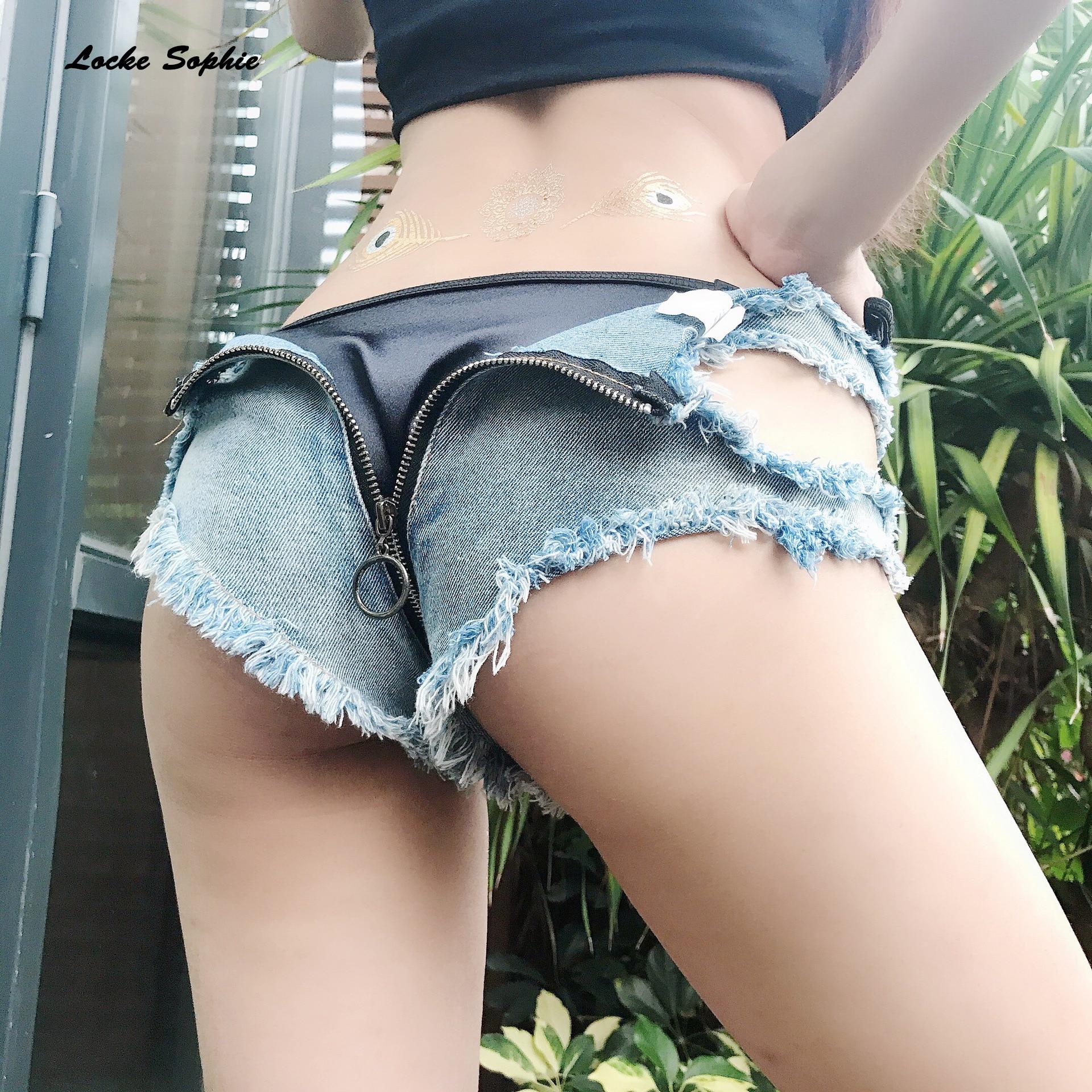Low Waist Women's Jeans Denim Shorts  Summer Denim Cotton Bandage Zipper Splicing Hole Ladies Skinny Sexy Super Short Jeans