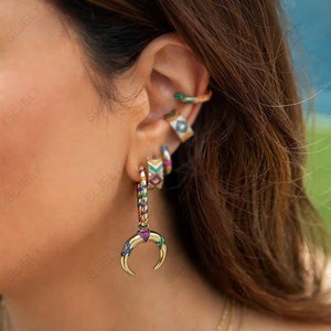Image 5 - SLJELY 1pc 925 Sterling Silver Yellow Gold Color Single Multicolor Stripes Tribal Crescent Moon Drop Earring Women Mana Jewelry