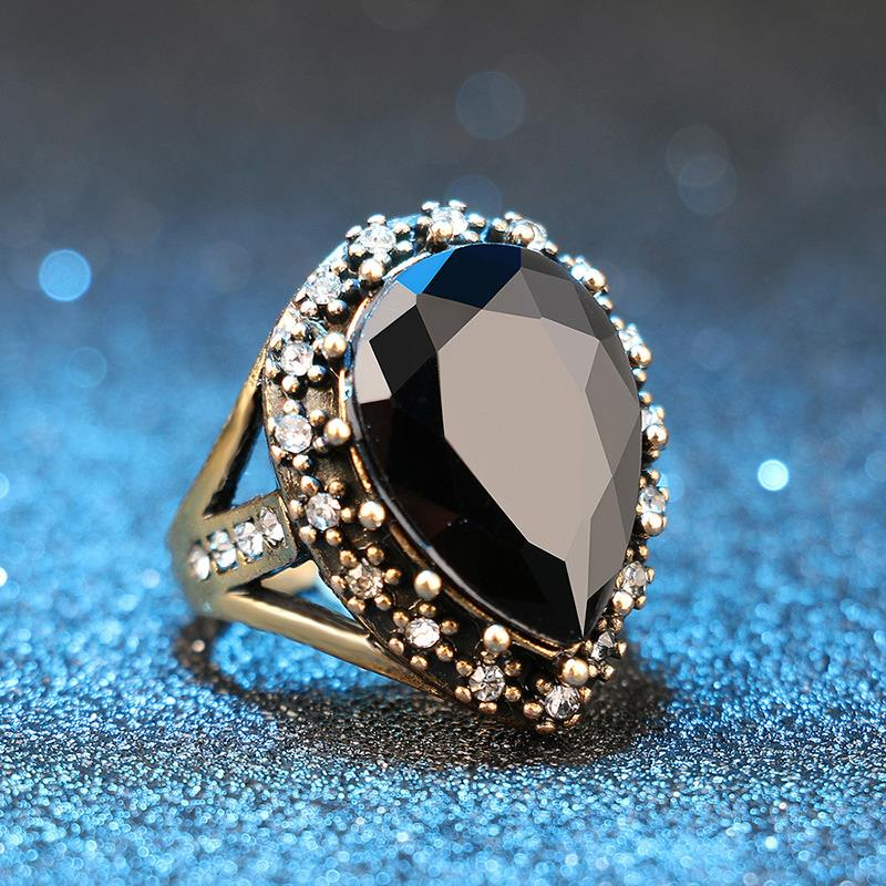 1PC Zircon Boho Size 7 8 9 10 Big Black Red Green Stone Antique Gold Crystal Turkish Jewelry Wedding Bride Rings Party Gifts