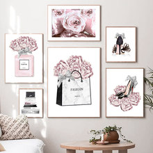 Fashion Abstract Flower Woman Bag High Heels Perfume Wall Art Print Canvas Painting Nordic Poster Decor Pictures For Living Room
