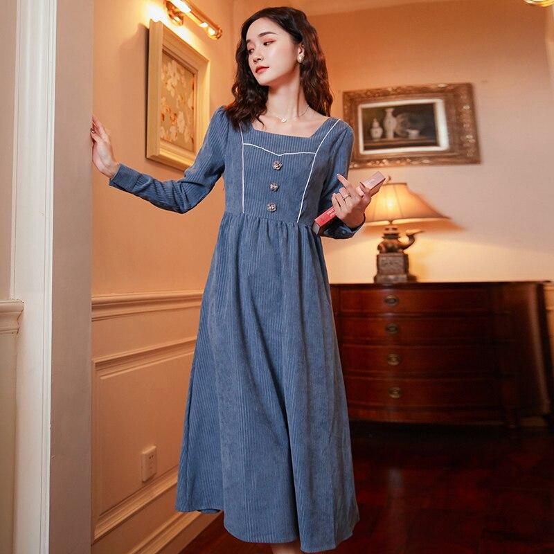 New Vintage Women Dress Slim Intelligence Fume Long French Niche Corduroy Dresses Blue 829