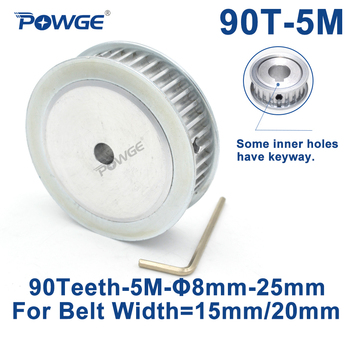 POWGE 90 Teeth HTD 5M Synchronous Timing Pulley Bore 8/10/12/15/16/17/19/20/25mm for Width 15/20mm HTD5M wheel Gear 90Teeth 90T