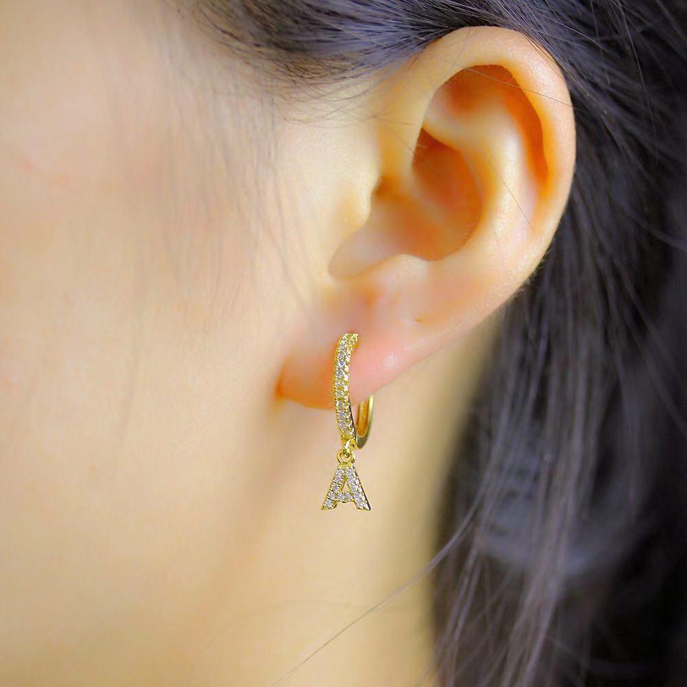 1 pair Trendy cubic zirconia Initial Letter A-Z Earrings silver gold small hoop earrings For Women Jewelry oorbelen orecchini 4