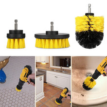 3Pcs/Set Electric Drill Brush Kit Plastic Round Cleaning For Carpet Glass Car Tires