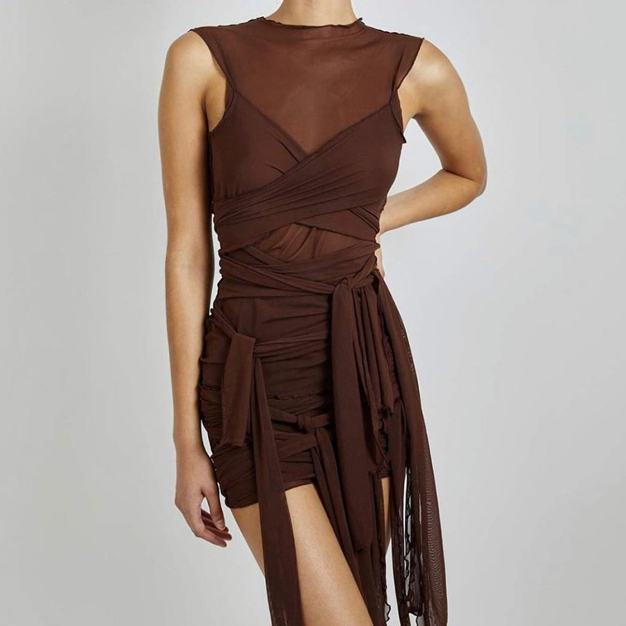 Brown Ribbons Mesh See Through Bodycon Party Dresses Women Sexy Clubwear Mini Dress Solid Sleeveless Basic Female платье Outfits 1