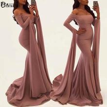 Prom-Gowns Evening-Dresses Long-Sleeves Arabic Mermaid Formal Abiye Elbisesi Gece