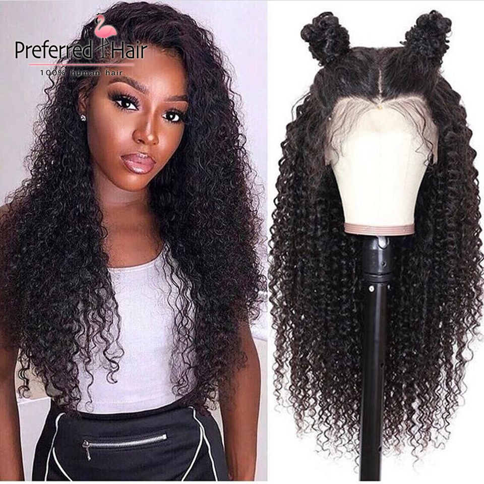 Preferred Hair Preplucked Hairline Curly Human Hair Wig Brazilian Remy 150 Density Lace Front Human Hair Wigs For Black Women