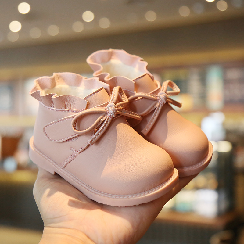 Leather boots spring autumn winter 1-3 years old girls leather ankle boots toddler soft bottom princess cotton boots baby shoes