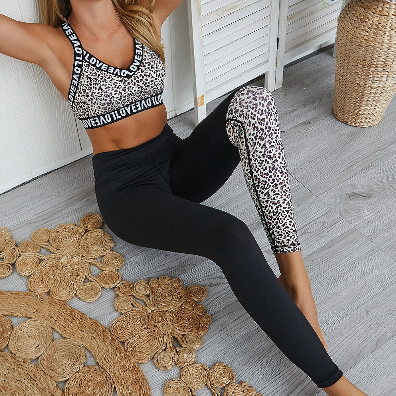 Women Yoga Sets Ensemble Leopard Gym Wear Running Clothing Tracksuit Sexy Sportswear Jumpsuits Fitness Set Sport Suit,ZF244