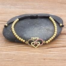 Handmade Bead Bracelet Heart Shape Adjustable Mama Bracelets High Quality Copper Cubic Zirconia Jewelry Gift For Women Mom homod charm heart shape bracelet 65mm cubic zirconia silver color smooth brand bracelets
