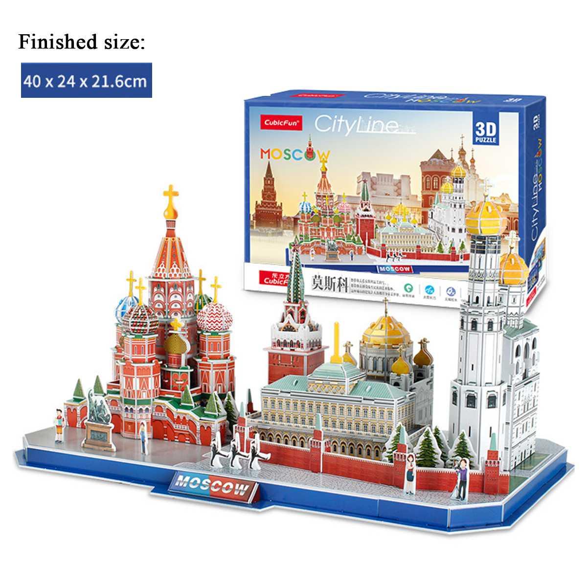 DIY Craft Paper Puzzle Model Architecture Model City London  Paris Moscow 3D DIY Education Toys Handmade Adult Puzzle Game