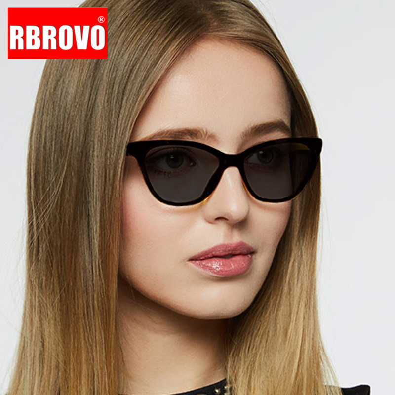 RBROVO Cat Eye Retro Sunglasses Women Brand Luxury Glasses For Women/Men Vintage Sunglasses Women Small Oculos De Sol Feminino